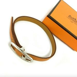 Like-New Hermes Api Palladium Silver Bracelet+Box